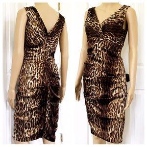 Cache ruched leopard print V neck mini dress 2